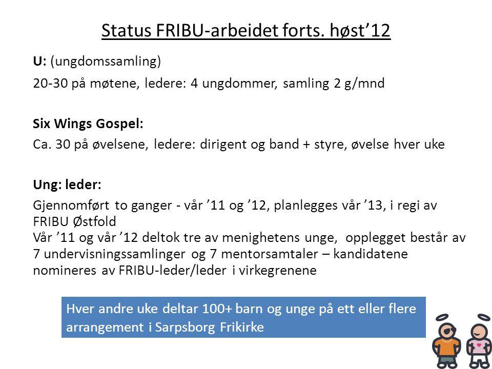 Status FRIBU-arbeidet forts. høst'12 U: (ungdomssamling) 20-30 på møtene, ledere: 4 ungdommer, samling 2 g/mnd Six Wings Gospel: Ca. 30 på øvelsene, l