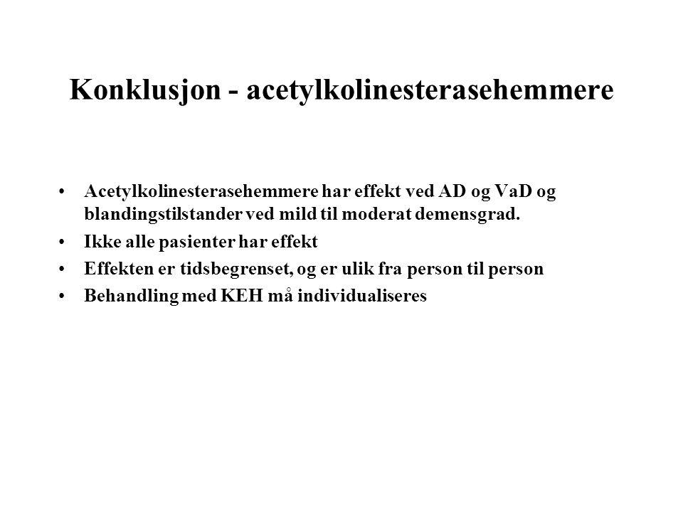 Konklusjon - acetylkolinesterasehemmere •Acetylkolinesterasehemmere har effekt ved AD og VaD og blandingstilstander ved mild til moderat demensgrad. •