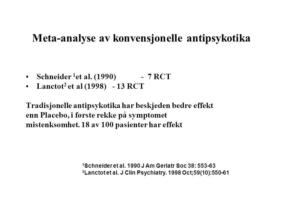 Meta-analyse av konvensjonelle antipsykotika •Schneider 1 et al. (1990)- 7 RCT •Lanctot 2 et al (1998)- 13 RCT Tradisjonelle antipsykotika har beskjed