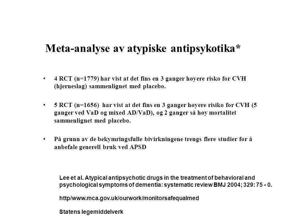 Meta-analyse av atypiske antipsykotika* •4 RCT (n=1779) har vist at det fins en 3 ganger høyere risko for CVH (hjerneslag) sammenlignet med placebo. •