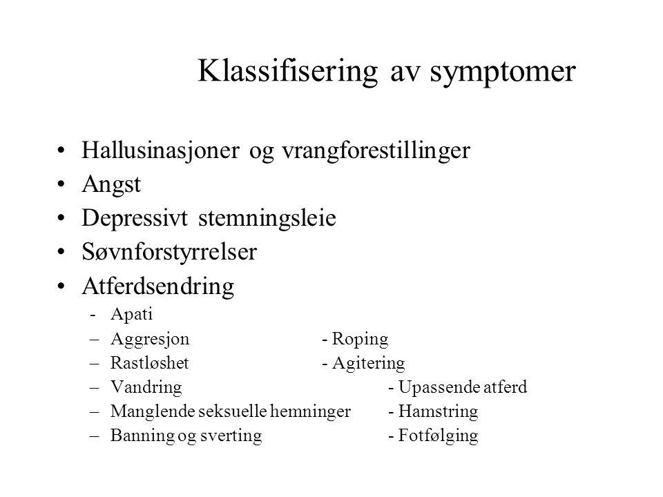 Klassifisering av symptomer •Hallusinasjoner og vrangforestillinger •Angst •Depressivt stemningsleie •Søvnforstyrrelser •Atferdsendring -Apati –Aggres