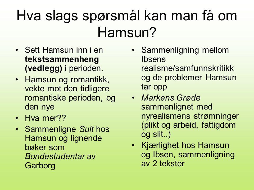 Hva slags spørsmål kan man få om Hamsun.