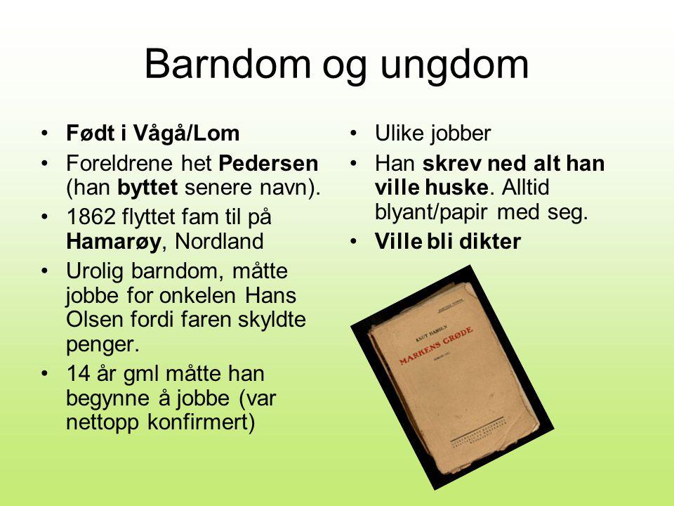 Barndom og ungdom •Født i Vågå/Lom •Foreldrene het Pedersen (han byttet senere navn).