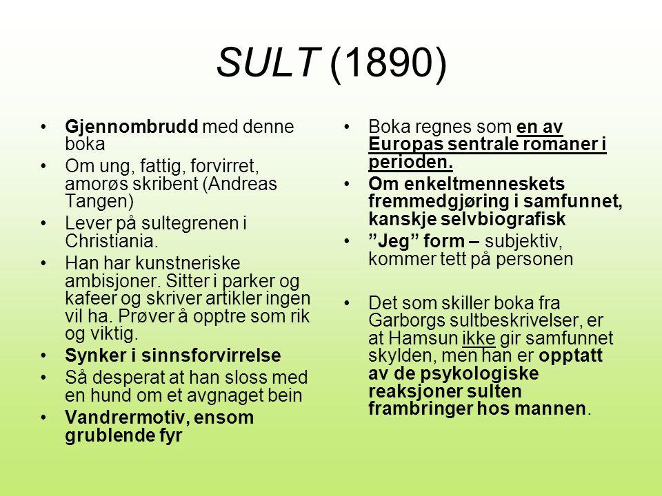 SULT (1890) •Gjennombrudd med denne boka •Om ung, fattig, forvirret, amorøs skribent (Andreas Tangen) •Lever på sultegrenen i Christiania.