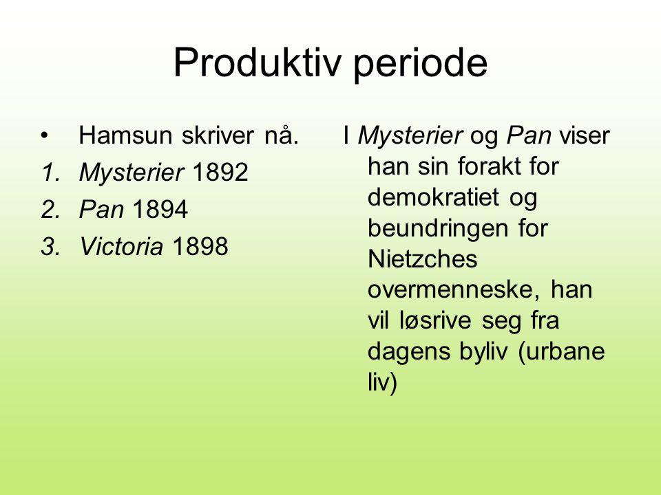 Produktiv periode •Hamsun skriver nå.