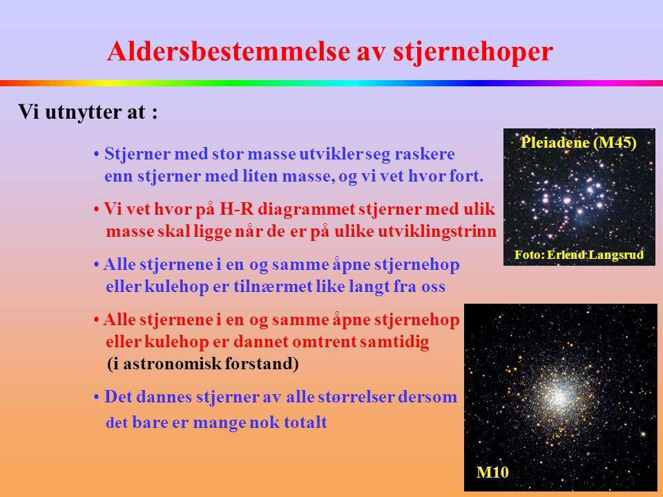 Aldersbestemmelse av stjernehoper • Stjerner med stor masse utvikler seg raskere enn stjerner med liten masse, og vi vet hvor fort.