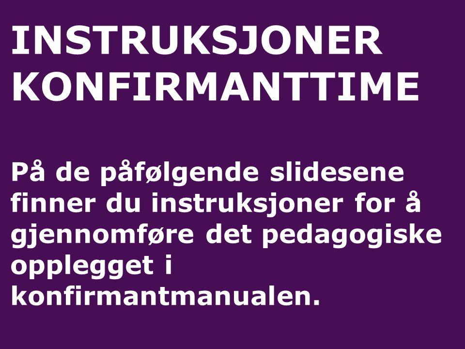 INSTRUKSJONER KONFIRMANTTIME På de påfølgende slidesene finner du instruksjoner for å gjennomføre det pedagogiske opplegget i konfirmantmanualen.