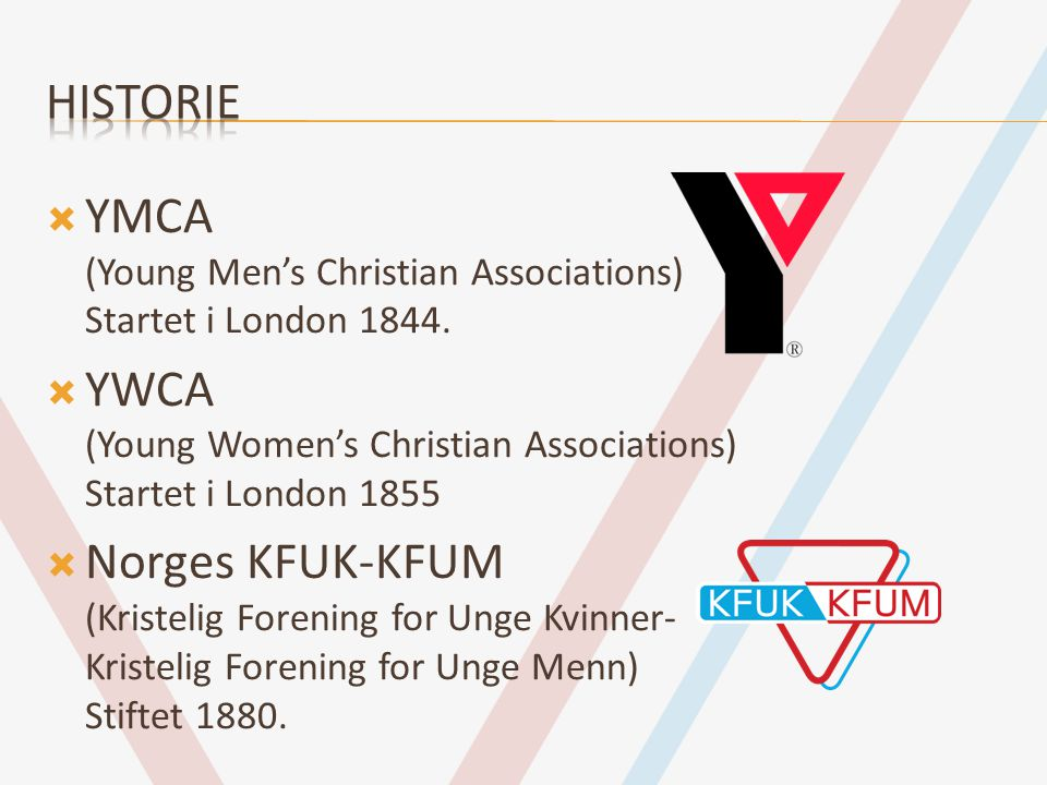  YMCA (Young Men's Christian Associations) Startet i London 1844.  YWCA (Young Women's Christian Associations) Startet i London 1855  Norges KFUK-K
