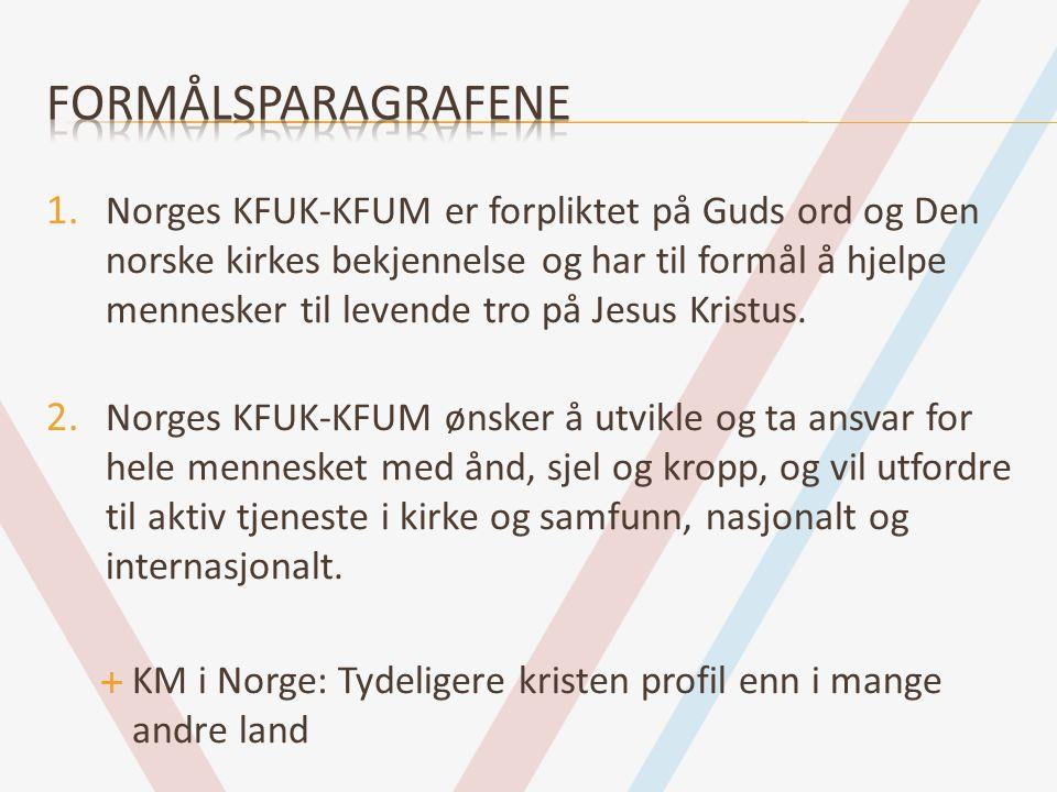1. Norges KFUK-KFUM er forpliktet på Guds ord og Den norske kirkes bekjennelse og har til formål å hjelpe mennesker til levende tro på Jesus Kristus.