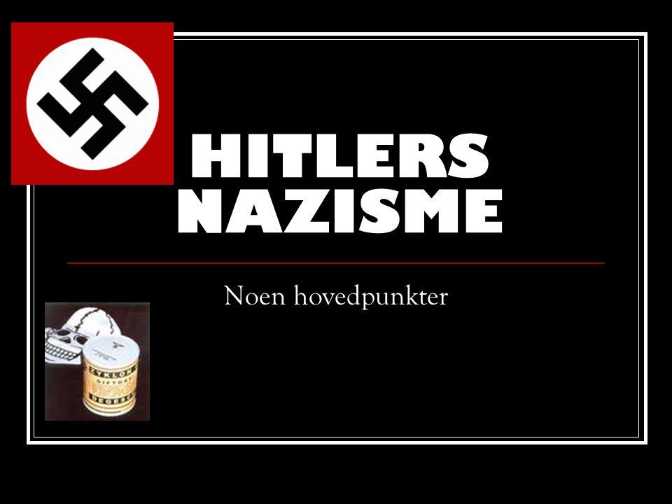 DEFINISJON  Fascisme: Fellesbetegnelse på ideologier og holdninger som hevder at noen mennesker fra naturen av er mer verdt enn andre  Nazisme: En kortversjon av Nazionalsozialistische Deutsche Arbeiterpartei , NSDAP , det partiet Hitler ble leder av.