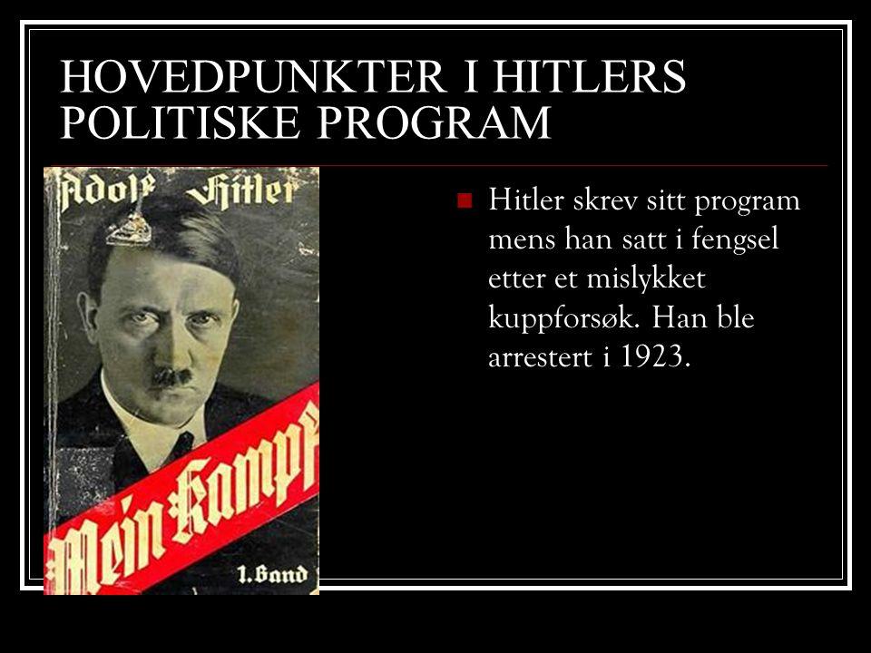 HOVEDPUNKTER I HITLERS POLITISKE PROGRAM  Hitler skrev sitt program mens han satt i fengsel etter et mislykket kuppforsøk. Han ble arrestert i 1923.