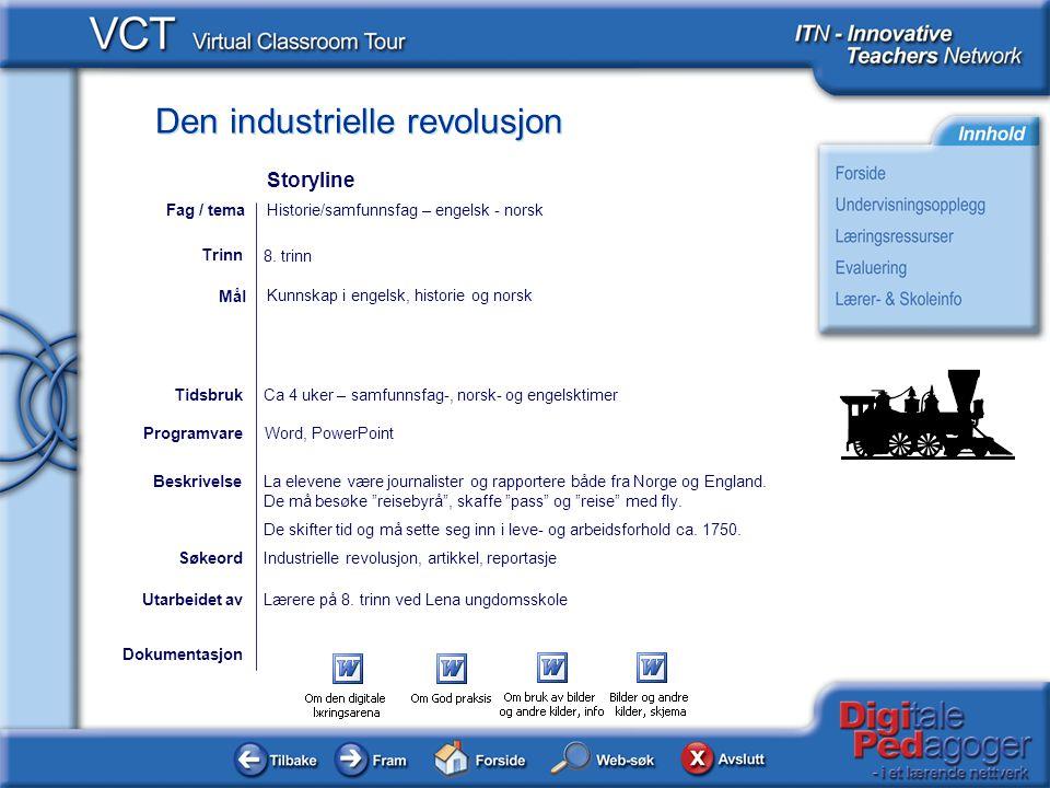 Den industrielle revolusjon Dokumentasjon Utarbeidet avLærere på 8. trinn ved Lena ungdomsskole Kunnskap i engelsk, historie og norsk Mål Industrielle