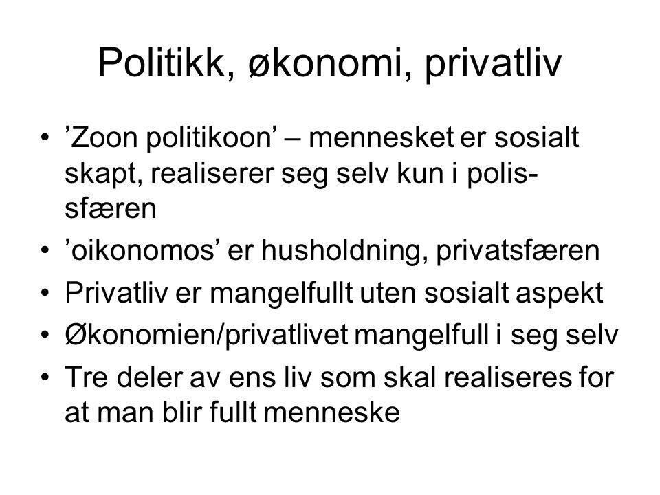 Politikk, økonomi, privatliv •'Zoon politikoon' – mennesket er sosialt skapt, realiserer seg selv kun i polis- sfæren •'oikonomos' er husholdning, pri