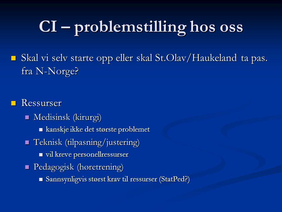 CI – problemstilling hos oss  Skal vi selv starte opp eller skal St.Olav/Haukeland ta pas.