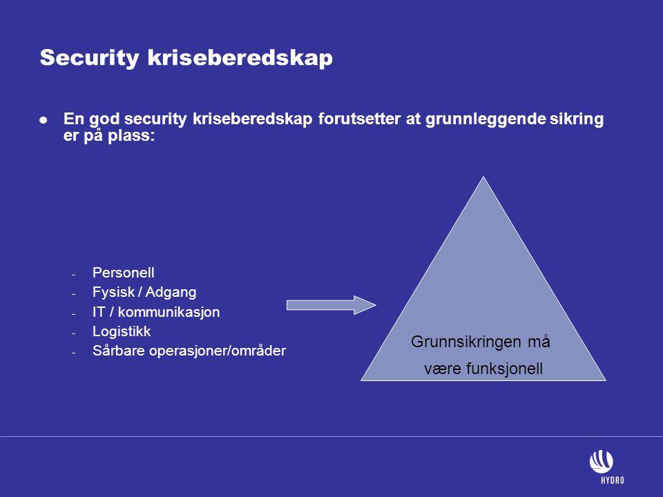 Security kriseberedskap  En god security kriseberedskap forutsetter at grunnleggende sikring er på plass: - Personell - Fysisk / Adgang - IT / kommun