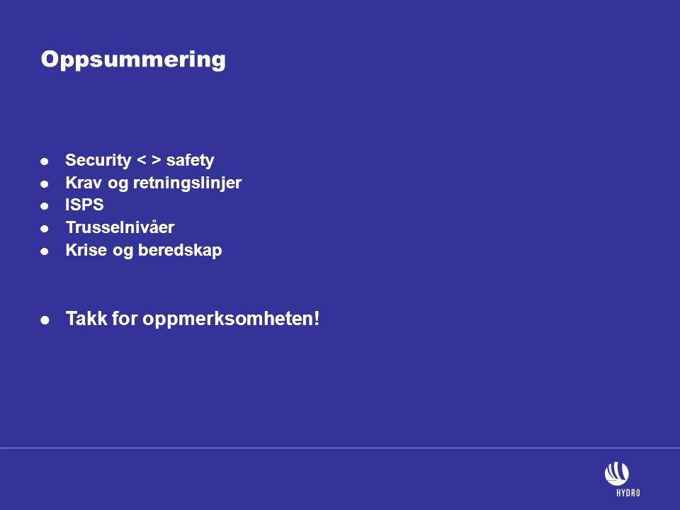 Oppsummering  Security safety  Krav og retningslinjer  ISPS  Trusselnivåer  Krise og beredskap  Takk for oppmerksomheten!