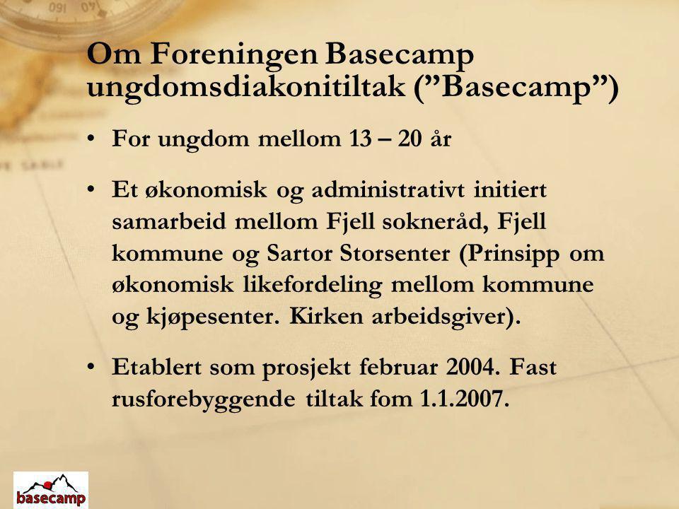 """Om Foreningen Basecamp ungdomsdiakonitiltak (""""Basecamp"""") •For ungdom mellom 13 – 20 år •Et økonomisk og administrativt initiert samarbeid mellom Fjell"""