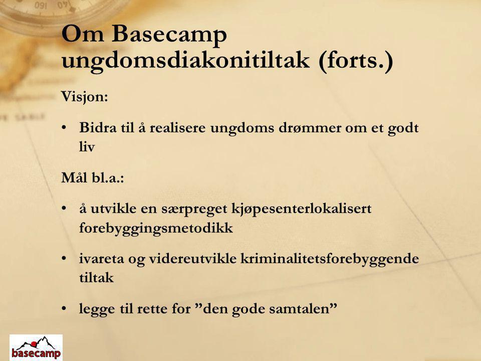 Om Basecamp ungdomsdiakonitiltak (forts.) Visjon: •Bidra til å realisere ungdoms drømmer om et godt liv Mål bl.a.: •å utvikle en særpreget kjøpesenter