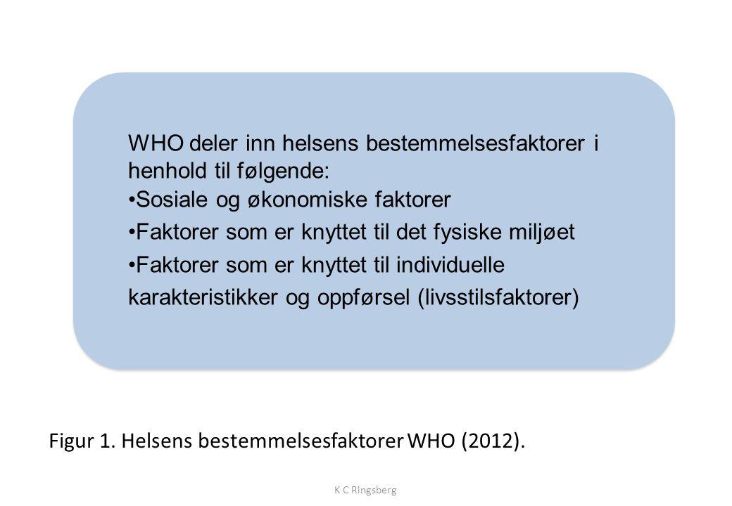 Figur 1.Helsens bestemmelsesfaktorer WHO (2012).