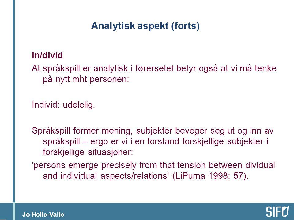 Jo Helle-Valle Analytisk aspekt (forts) In/divid At språkspill er analytisk i førersetet betyr også at vi må tenke på nytt mht personen: Individ: udel