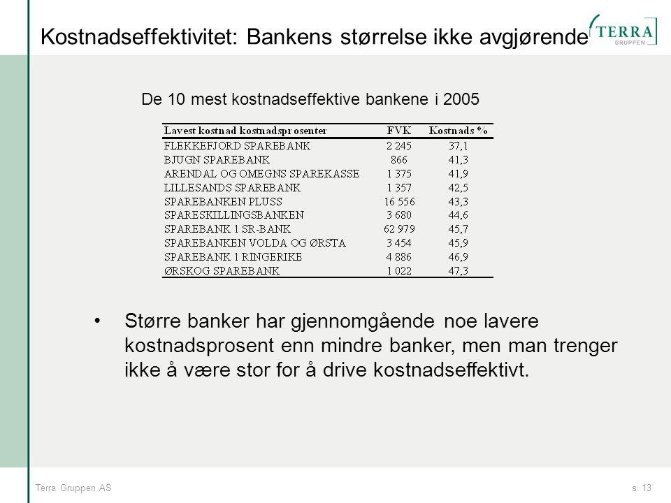 s. 13Terra Gruppen AS Kostnadseffektivitet: Bankens størrelse ikke avgjørende De 10 mest kostnadseffektive bankene i 2005 •Større banker har gjennomgå
