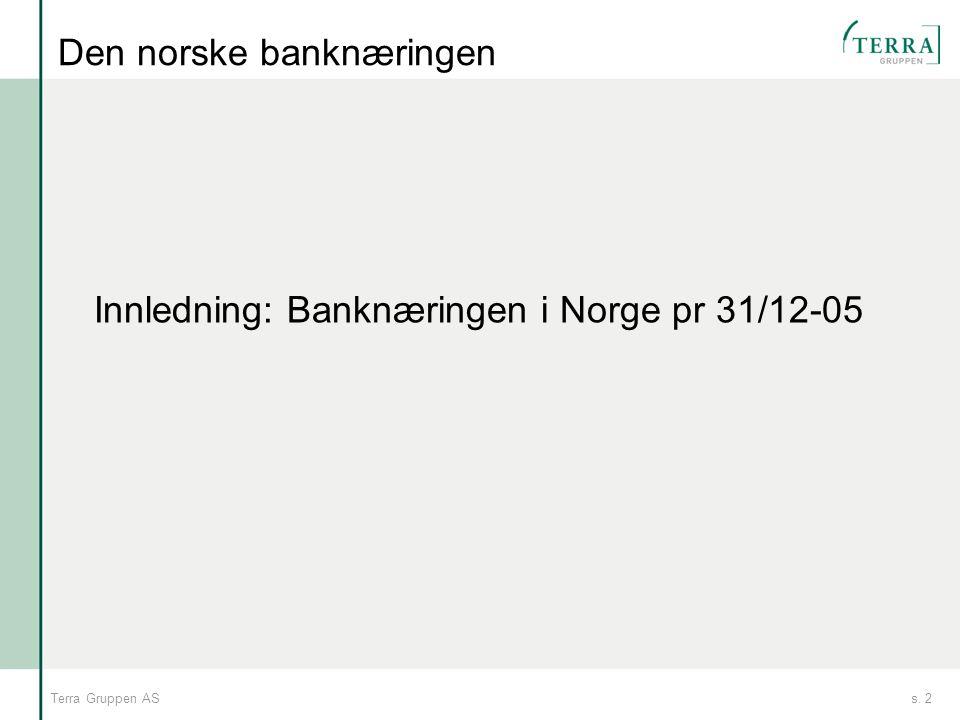 s. 2Terra Gruppen AS Den norske banknæringen Innledning: Banknæringen i Norge pr 31/12-05
