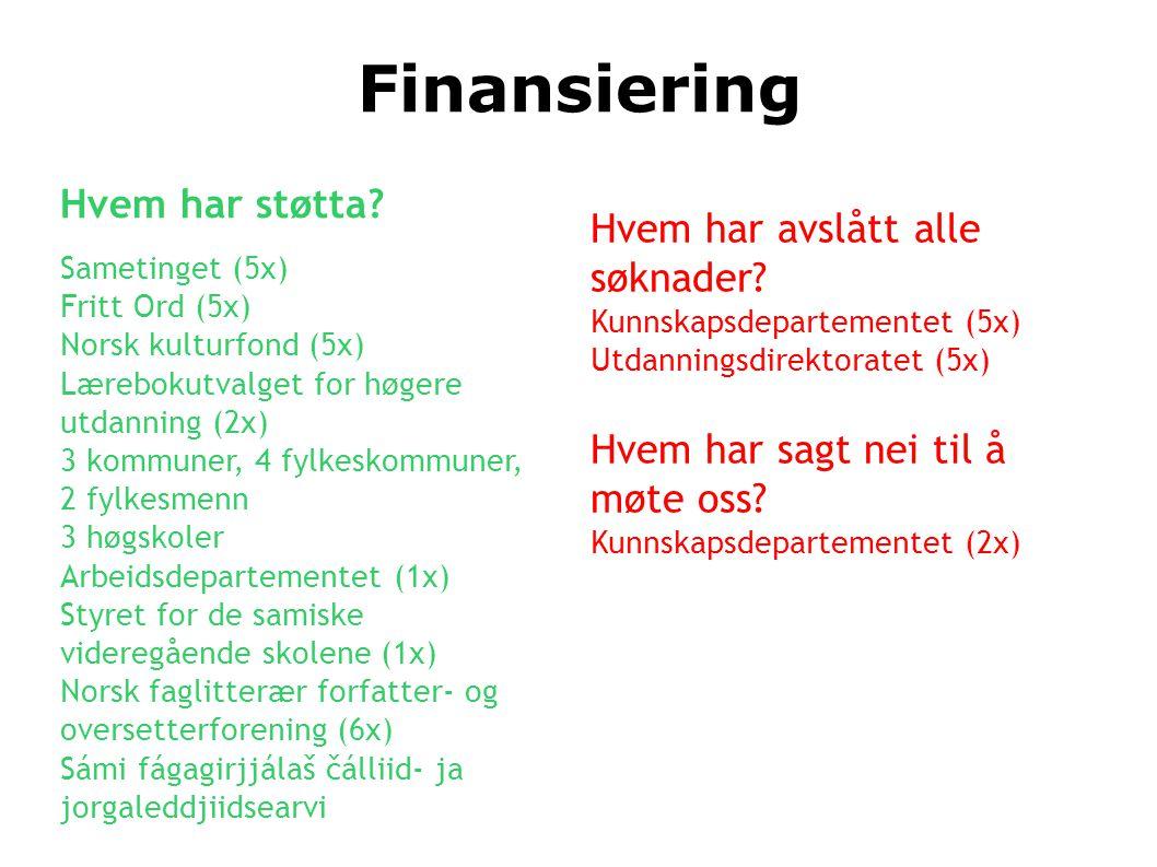 Finansiering Hvem har støtta? Sametinget (5x) Fritt Ord (5x) Norsk kulturfond (5x) Lærebokutvalget for høgere utdanning (2x) 3 kommuner, 4 fylkeskommu