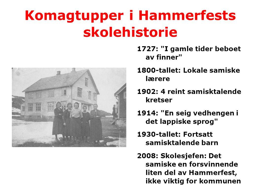 Komagtupper i Hammerfests skolehistorie 1727: