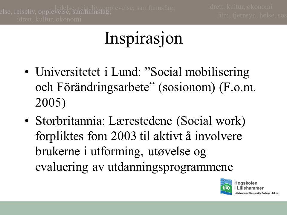 "Inspirasjon •Universitetet i Lund: ""Social mobilisering och Förändringsarbete"" (sosionom) (F.o.m. 2005) •Storbritannia: Lærestedene (Social work) forp"