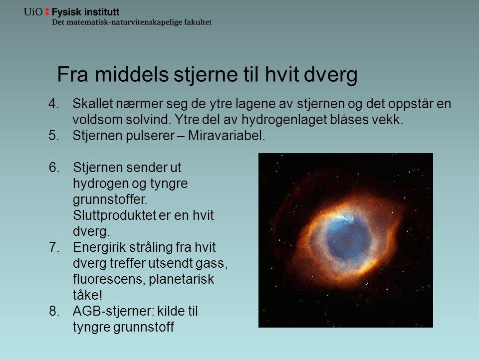 Fra middels stjerne til hvit dverg 4.Skallet nærmer seg de ytre lagene av stjernen og det oppstår en voldsom solvind. Ytre del av hydrogenlaget blåses
