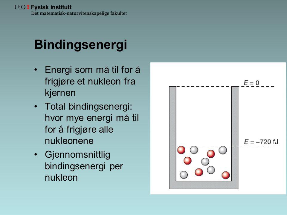 Bindingsenergi •Energi som må til for å frigjøre et nukleon fra kjernen •Total bindingsenergi: hvor mye energi må til for å frigjøre alle nukleonene •Gjennomsnittlig bindingsenergi per nukleon