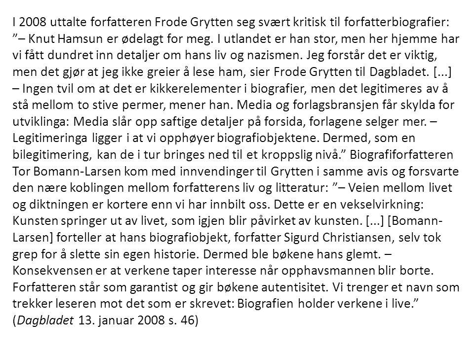I 2008 uttalte forfatteren Frode Grytten seg svært kritisk til forfatterbiografier: – Knut Hamsun er ødelagt for meg.