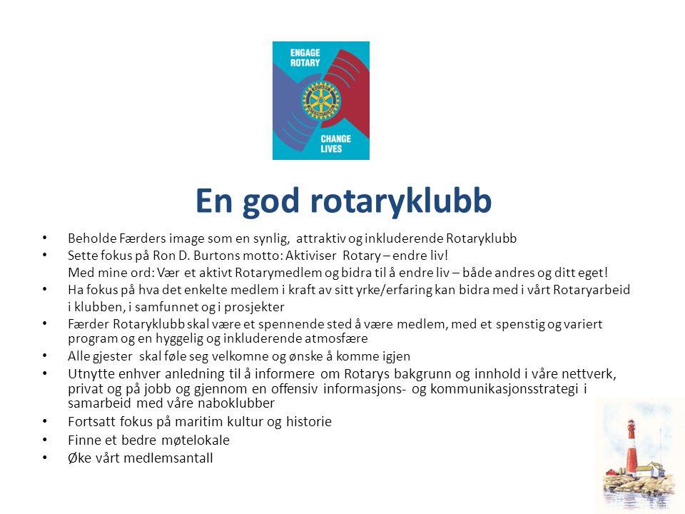 En god rotaryklubb • Beholde Færders image som en synlig, attraktiv og inkluderende Rotaryklubb • Sette fokus på Ron D.