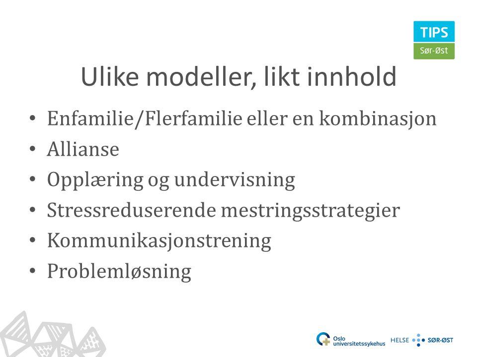 Ulike modeller, likt innhold • Enfamilie/Flerfamilie eller en kombinasjon • Allianse • Opplæring og undervisning • Stressreduserende mestringsstrategi
