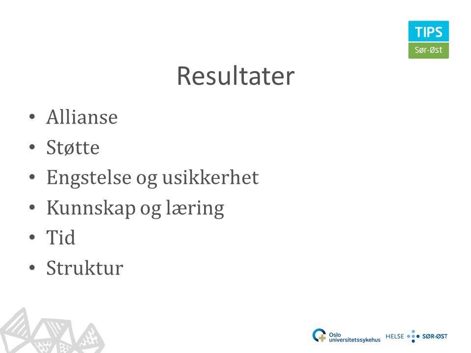 Resultater • Allianse • Støtte • Engstelse og usikkerhet • Kunnskap og læring • Tid • Struktur