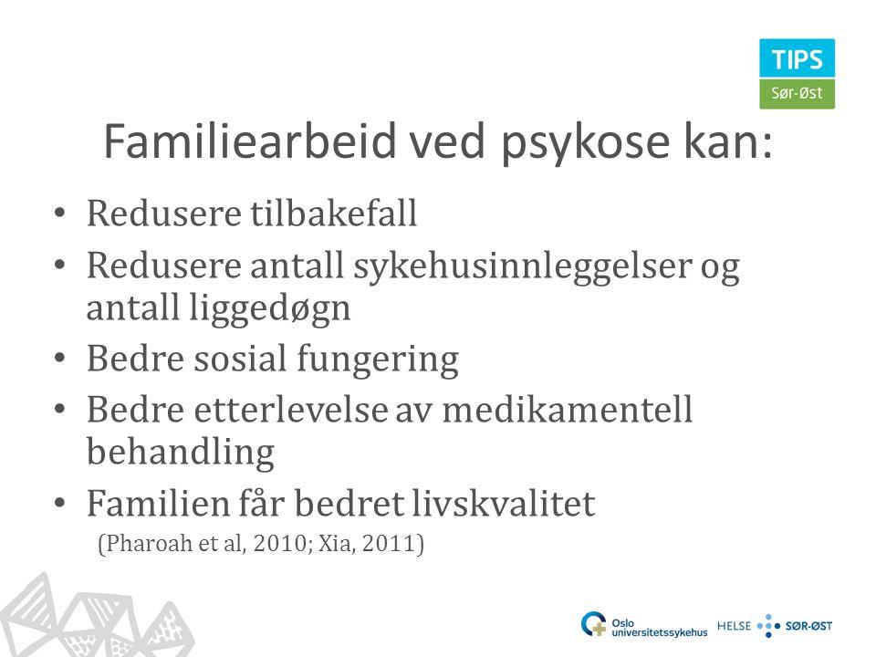 Familiearbeid ved psykose kan: • Redusere tilbakefall • Redusere antall sykehusinnleggelser og antall liggedøgn • Bedre sosial fungering • Bedre etter