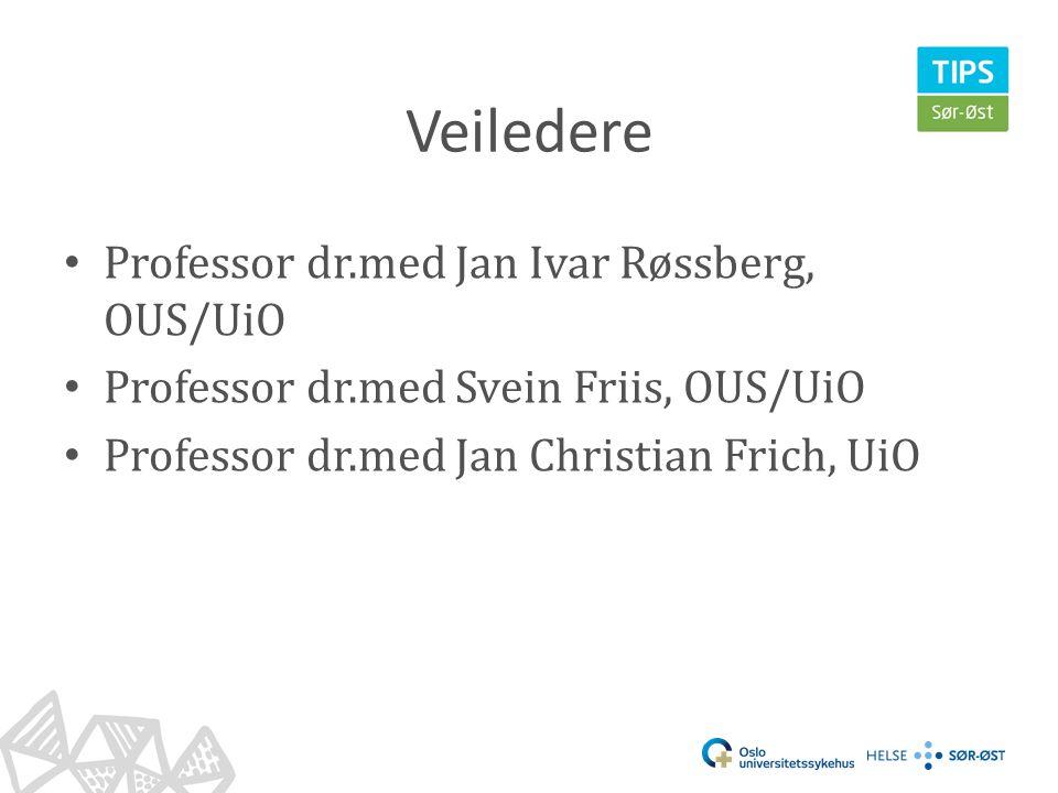 Veiledere • Professor dr.med Jan Ivar Røssberg, OUS/UiO • Professor dr.med Svein Friis, OUS/UiO • Professor dr.med Jan Christian Frich, UiO