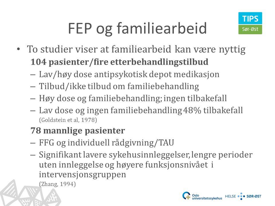 FEP og familiearbeid • To studier viser at familiearbeid kan være nyttig 104 pasienter/fire etterbehandlingstilbud – Lav/høy dose antipsykotisk depot