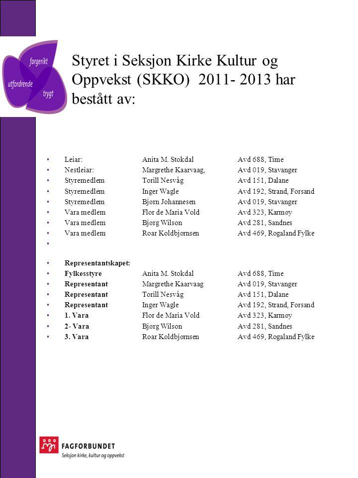 Styret i Seksjon Kirke Kultur og Oppvekst (SKKO) 2011- 2013 har bestått av: •Leiar: Anita M.