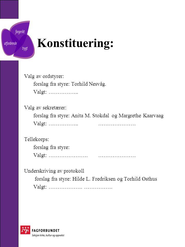 Konstituering: Valg av ordstyrer: forslag fra styre: Torhild Nesvåg.