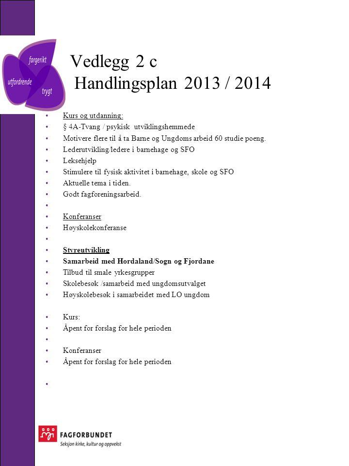 Vedlegg 2 c Handlingsplan 2013 / 2014 •Kurs og utdanning: •§ 4A-Tvang / psykisk utviklingshemmede •Motivere flere til å ta Barne og Ungdoms arbeid 60 studie poeng.