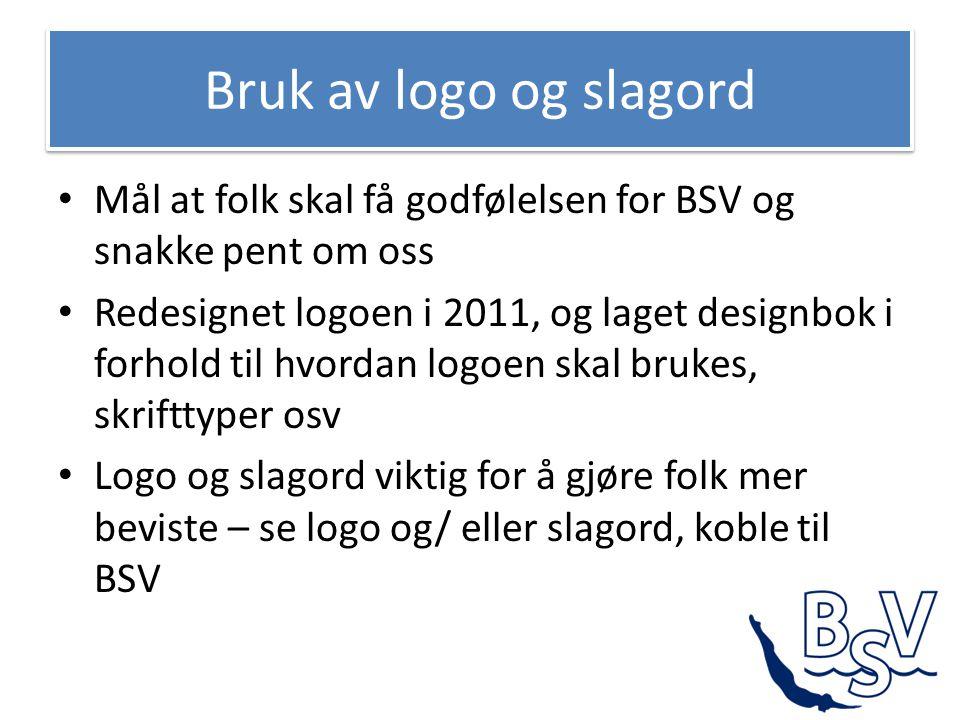 Bruk av logo og slagord • Mål at folk skal få godfølelsen for BSV og snakke pent om oss • Redesignet logoen i 2011, og laget designbok i forhold til h