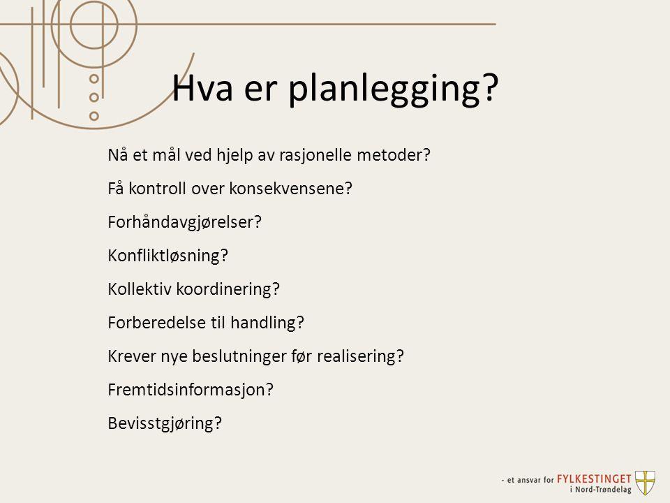 Hva er planlegging? Nå et mål ved hjelp av rasjonelle metoder? Få kontroll over konsekvensene? Forhåndavgjørelser? Konfliktløsning? Kollektiv koordine