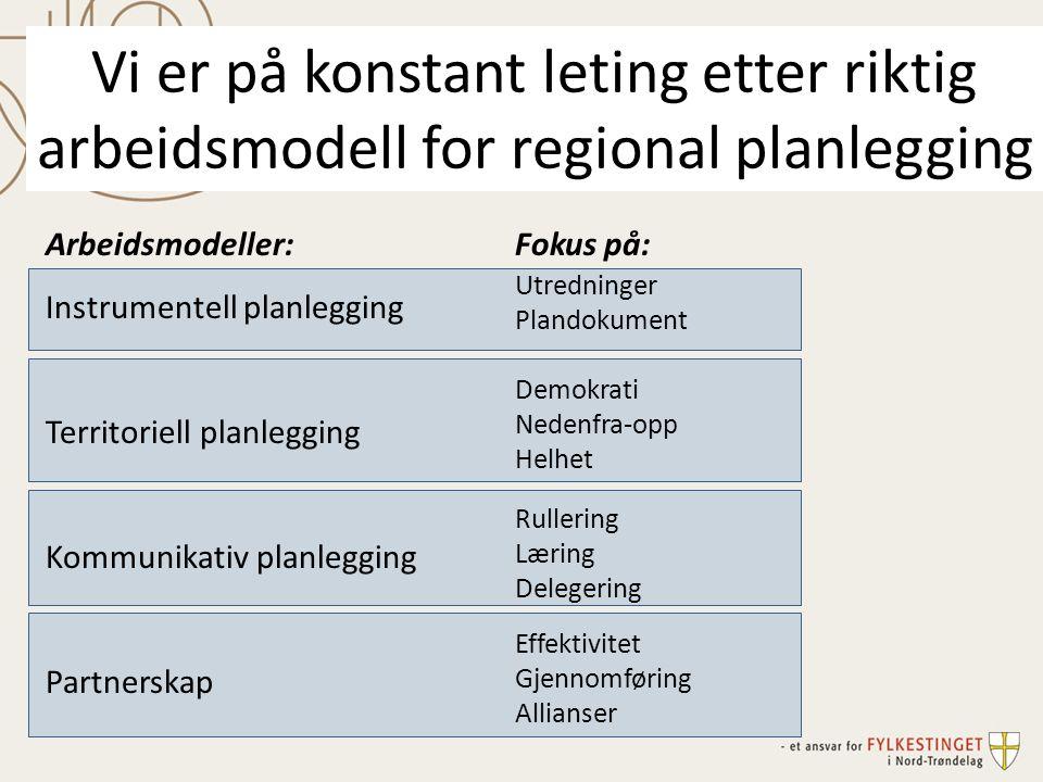 Vi er på konstant leting etter riktig arbeidsmodell for regional planlegging Arbeidsmodeller: Instrumentell planlegging Territoriell planlegging Kommu