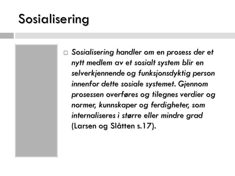 Sosialisering  Sosialisering handler om en prosess der et nytt medlem av et sosialt system blir en selverkjennende og funksjonsdyktig person innenfor