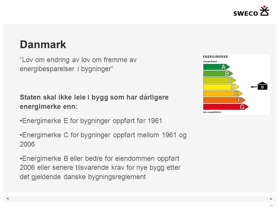 """◄ ► Danmark """"Lov om endring av lov om fremme av energibesparelser i bygninger"""" Staten skal ikke leie i bygg som har dårligere energimerke enn: •Energi"""