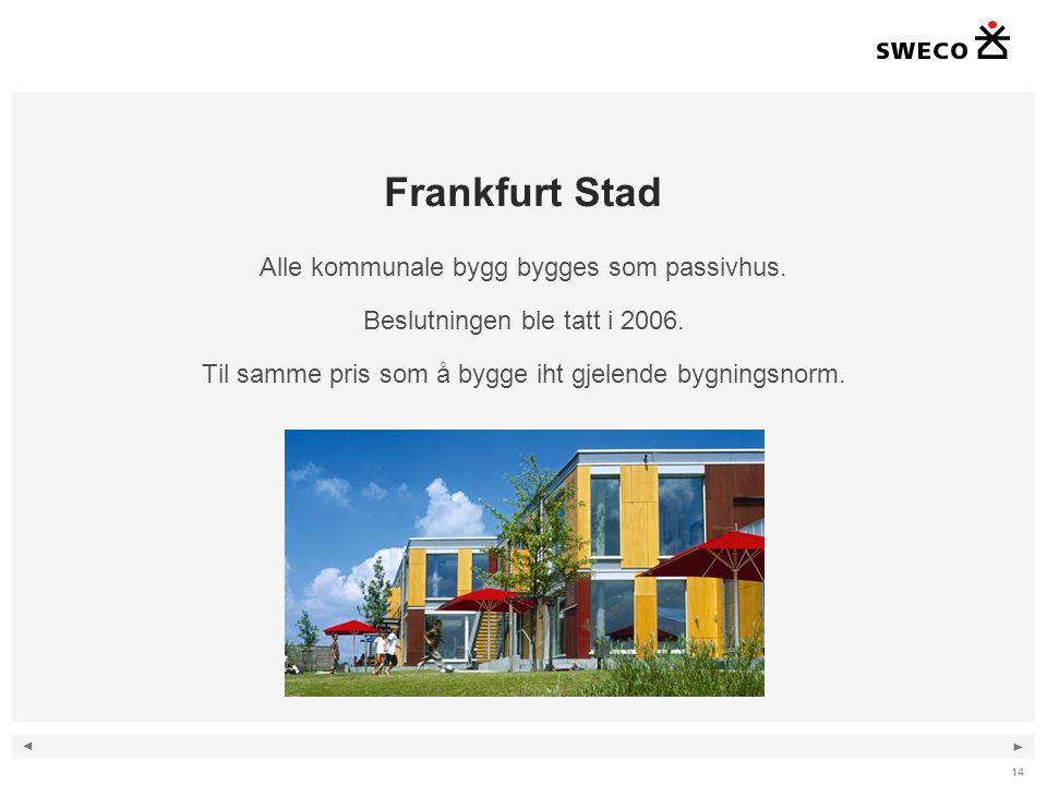 ◄ ► 14 Frankfurt Stad Alle kommunale bygg bygges som passivhus. Beslutningen ble tatt i 2006. Til samme pris som å bygge iht gjelende bygningsnorm.