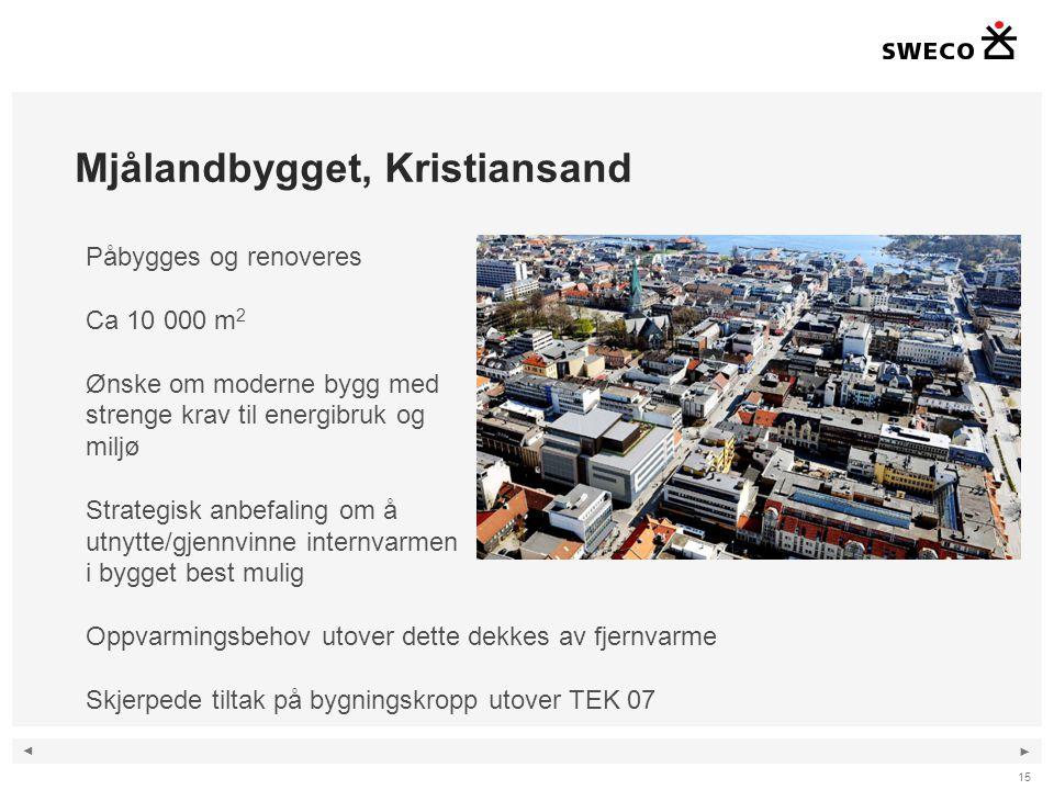 ◄ ► Mjålandbygget, Kristiansand 15 Påbygges og renoveres Ca 10 000 m 2 Ønske om moderne bygg med strenge krav til energibruk og miljø Strategisk anbef