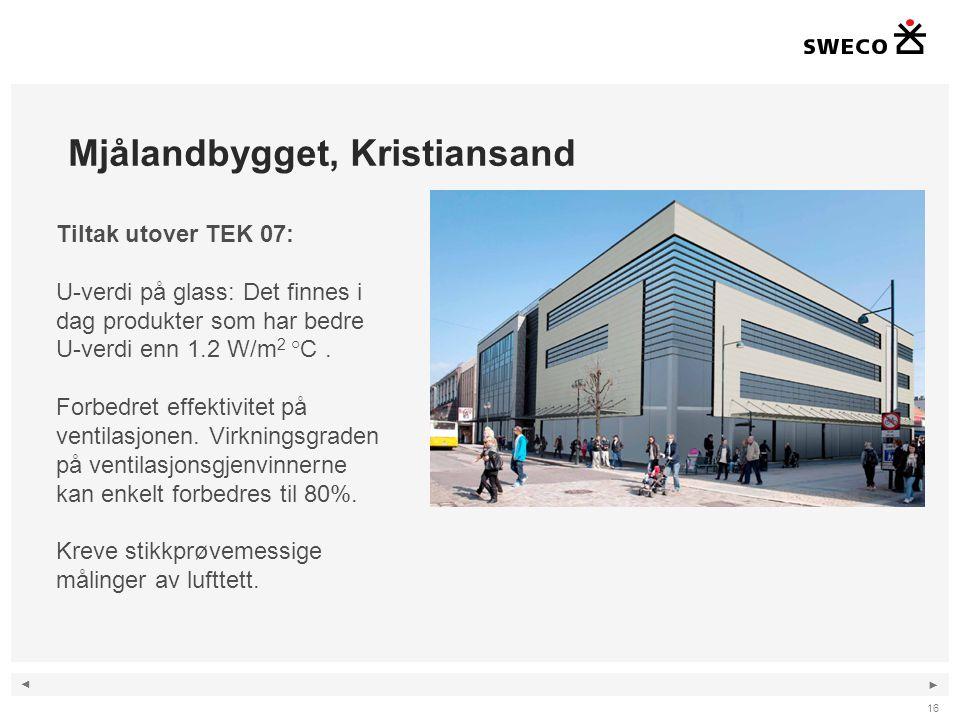 ◄ ► Mjålandbygget, Kristiansand 16 Tiltak utover TEK 07: U-verdi på glass: Det finnes i dag produkter som har bedre U-verdi enn 1.2 W/m 2 °C. Forbedre