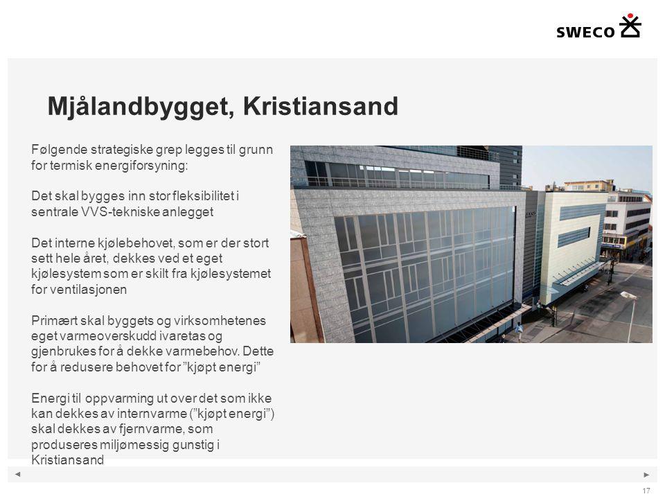 ◄ ► Mjålandbygget, Kristiansand 17 Følgende strategiske grep legges til grunn for termisk energiforsyning: Det skal bygges inn stor fleksibilitet i sentrale VVS-tekniske anlegget Det interne kjølebehovet, som er der stort sett hele året, dekkes ved et eget kjølesystem som er skilt fra kjølesystemet for ventilasjonen Primært skal byggets og virksomhetenes eget varmeoverskudd ivaretas og gjenbrukes for å dekke varmebehov.